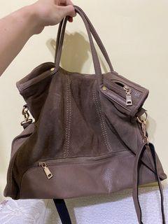 咖色皮革麂皮包 手提包/斜背包