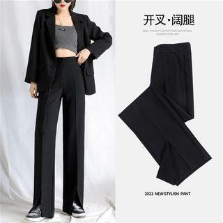 開叉設計感休閒闊腿顯瘦西裝褲 高腰開叉喇叭褲女顯高長褲垂感黑色微喇叭西褲