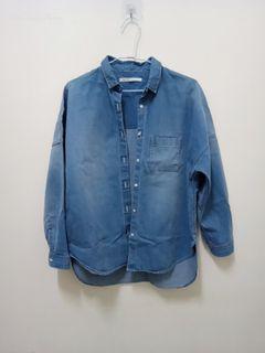 日本製100%棉牛仔外套 刷色百搭寬鬆牛仔長袖外套 微前短後長 純棉