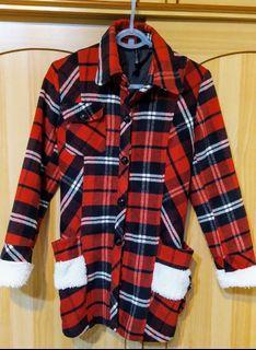 紅黑格子連帽可拆 大衣外套 二手現貨 氣質 有腰身