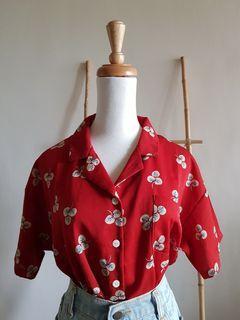 二手 復古正紅色米白葉子寬鬆V領短袖襯衫