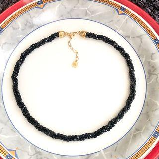 """AUTHENTIC BALMAIN FACETED DIAMOND BLACK GLASS CRYSTAL MULTI-STRAND NECKLACE VINTAGE 1980's 