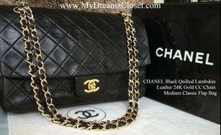 CHANEL Black Quilted Lambskin Leather 24K Gold CC Chain Medium Classic Flap Bag