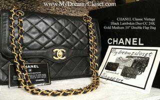 "CHANEL Classic Vintage Black Lambskin Duo CC 24K Gold Medium 10"" Double Flap Bag"