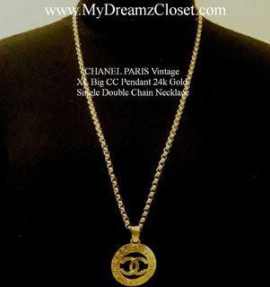 CHANEL PARIS Vintage XL Big CC Pendant 24k Gold Single Double Chain Necklace