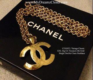 CHANEL Vintage Classic XXL Big CC Pendant 24k Gold Single Double Chain Necklace