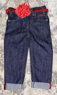 Denim trousers with floral belt  New UK brand