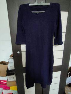 Dress Rajut Navy Premium Tebal