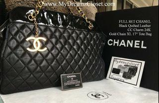 """FULL SET CHANEL Black Quilted Leather CC Charm 24K Gold Chain XL 17"""" Tote Bag"""