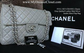 FULL SET CHANEL Classic Gray Quilted Leather Matt Silver Jumbo Maxi Flap Bag