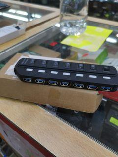 7 Port USB 3.0 Hub Portable Multi Port High Speed USB Hub with Switches