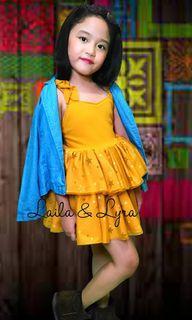 Laila&Lyra in Mustard Dress with Soft Denim Blazer