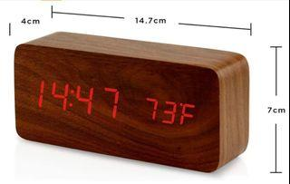 Lanker LED Digital Clock - Brown Wood Grain with Red LED , Multi-Function LED Alarm Clock with Time/Date/Temperature Display and Voice Control