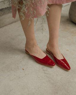 Mercci22 優雅尖頭低跟鞋 紅 40