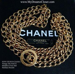 NEW UNUSED CHANEL Vintage 24k Gold CC Medallion Chain Belt Necklace Bracelet