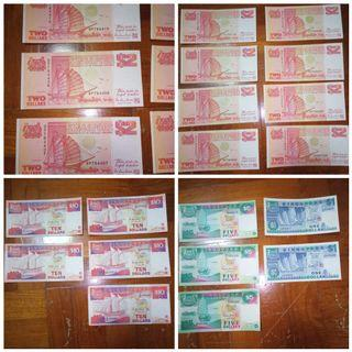 Old vintage Singapore ship series currency $1 $2 $5 $10 one two five ten dollars sgd