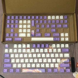 Purple and White Cloud Kawaii Aesthetic Keycaps Set for Mechanical Keyboards