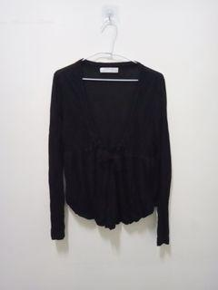 荷葉下擺V領綁帶黑色小外套薄外套防曬外套 棉質柔軟舒適