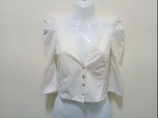 氣質優雅公主袖V領排扣五分袖外套 澎澎袖短版短款小外套 白色灰色 XXS~S號