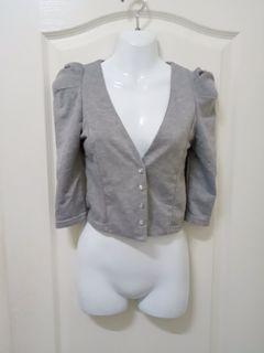 氣質優雅公主袖V領排扣五分袖外套 澎澎袖短版短款小外套 灰色白色 XXS~S號