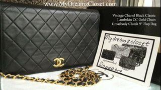 "Vintage Chanel Black Classic Lambskin CC Gold Chain Crossbody Clutch 9"" Flap Bag"