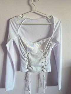 White corset like lace up long sleeve