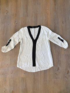 ZARA BASIC 大V領 絲質黑白上衣