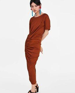 Zara Orange Striped Ghatered Dress