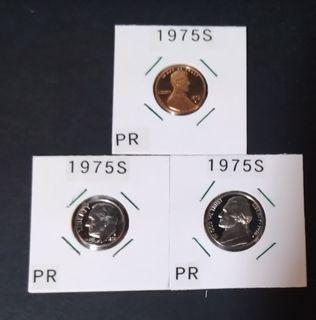 1975 S, usa 1 cent, 5 cents & 10cents proof cpins