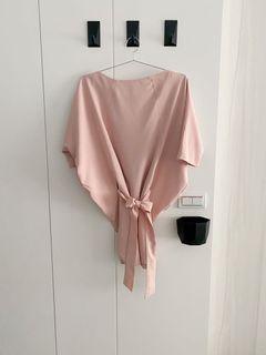 淡粉橘洋裝、素色短洋裝