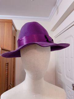 全新紫色毛呢紳士帽