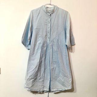 #斷捨離  [代售] 淺藍色中山領襯衫洋裝