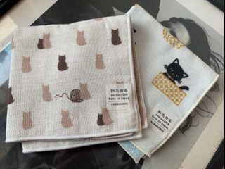 日本🇯🇵製  🐈貓咪小手帕 純棉  2條組