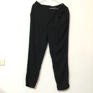 #斷捨離 [代售] ZARA 黑色綁帶造型西裝褲