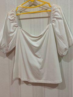 atasan putih H&M puff sleeves tshirt blouse white top