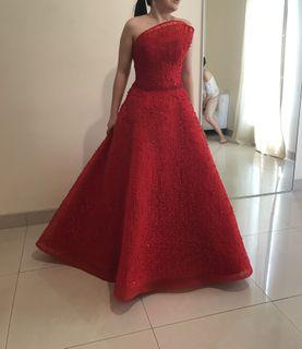 CUSTOM BALL GOWN gaun pesta wedding sangjit teapai pernikahan custom made desainer designer  by Winda Halomoan in red (warna merah)