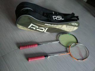Bundle of 2 x Pre-Owned Badminton Rackets + RSL Badminton BackPack,  selling at a bundle of 3 @$50. Grab n Go