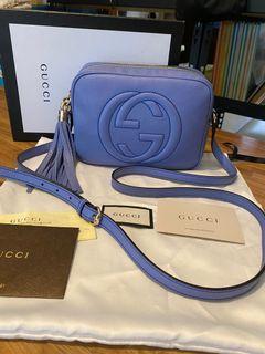 近全新Gucci 藍紫色soho斜背包