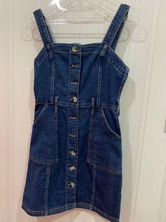 H&m denim dress jeans biru