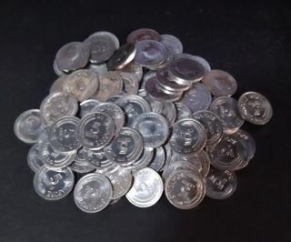 Lot of 100 pcs singapore 5 cents aluminium coins, UNC