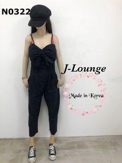 N0322 正韓深藍棉質性感吊帶上寬下窄報童掉檔褲連身褲 korean jumpsuit J-Lounge