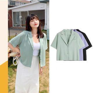 Plus Size Crop Collar Shirt