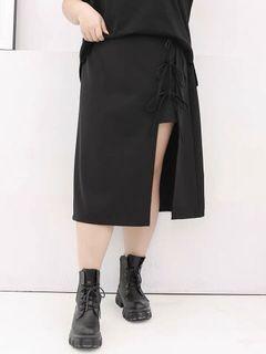 Plus Size Laceup Midi Skirt