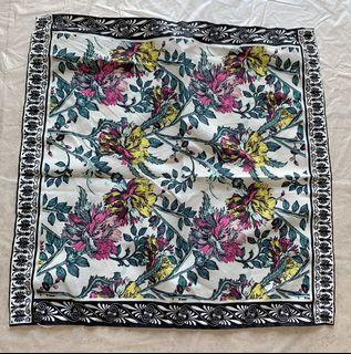 Pretty cotton Wild Flowers small square scarf.  Wear it around your neck or tie it on a bag for a pop of autumn spirit.