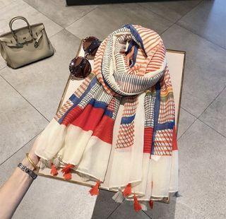 Rainbow color-blocking fringed cotton and linen scarf