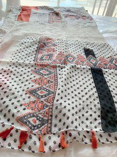Super Soft White Red and Black Patterns Printed Thin Cotton Casual Big Square Shawl