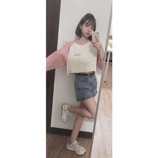 ✨粉色短版拼接長袖T恤