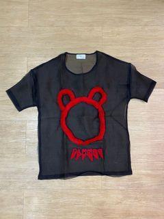 Transparent black red fur top