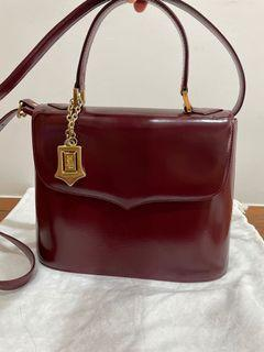 YSL Saint Laurent 酒紅牛皮側背包 聖羅蘭古董包 vintage bag
