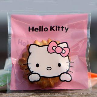 🆕️ 10cm 7cm Pink Hello Kitty 40pcs Cookie Candy Souvenir Self Adhesive Plastics 🍪🍬